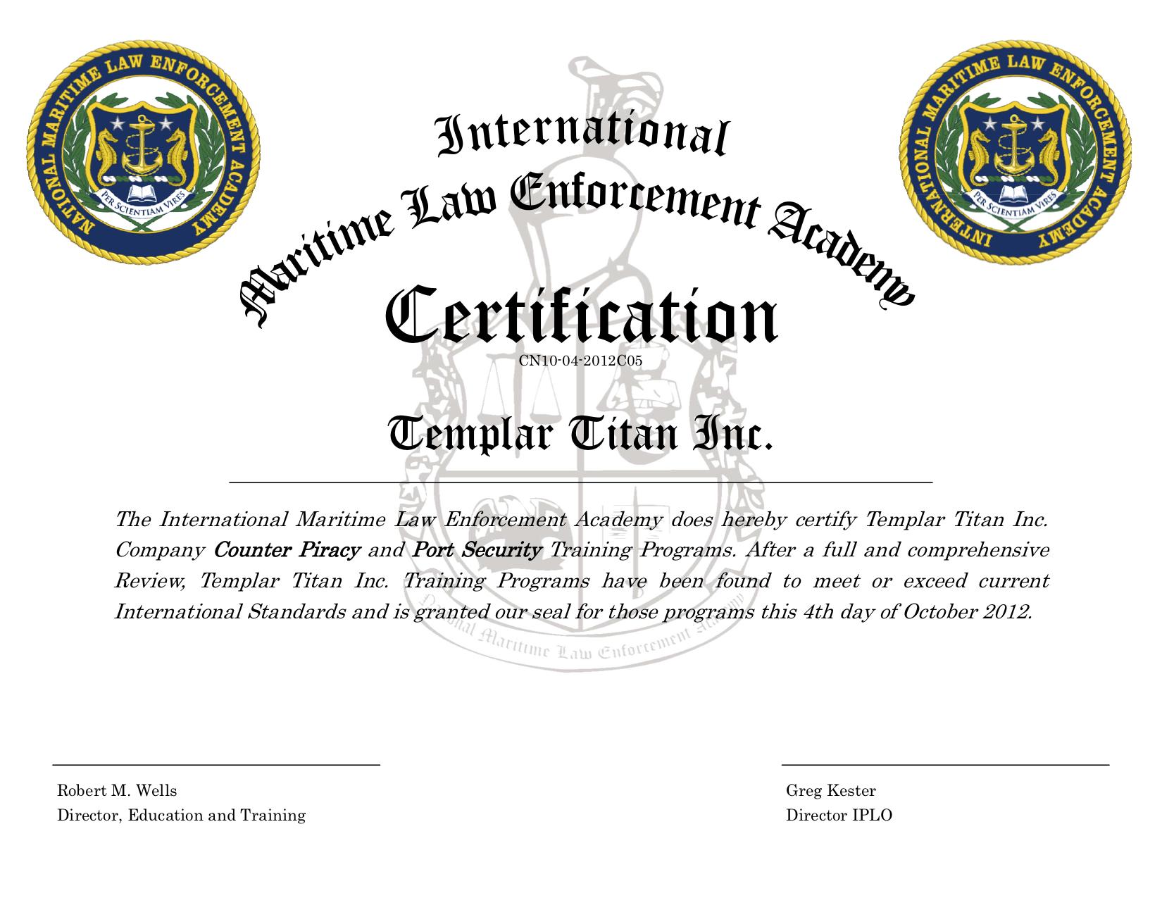 National Maritime Law Enforcement Academy Templar Titan
